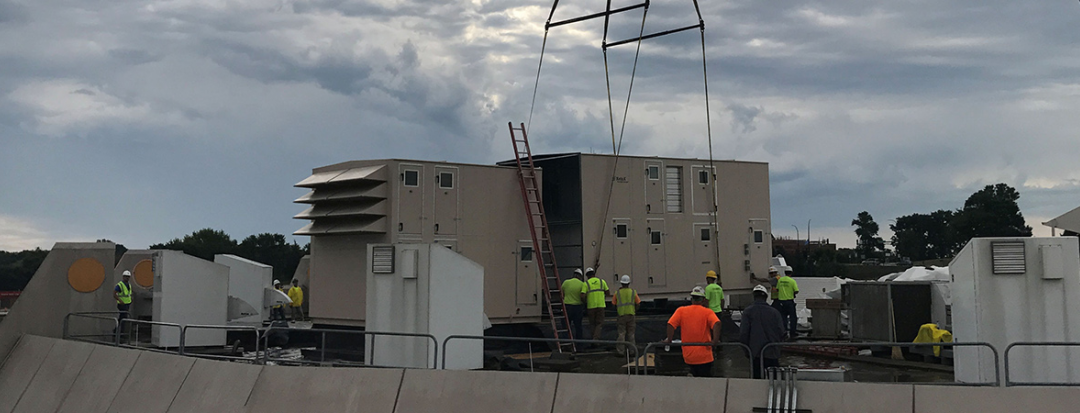 Unit on Roof with Workers